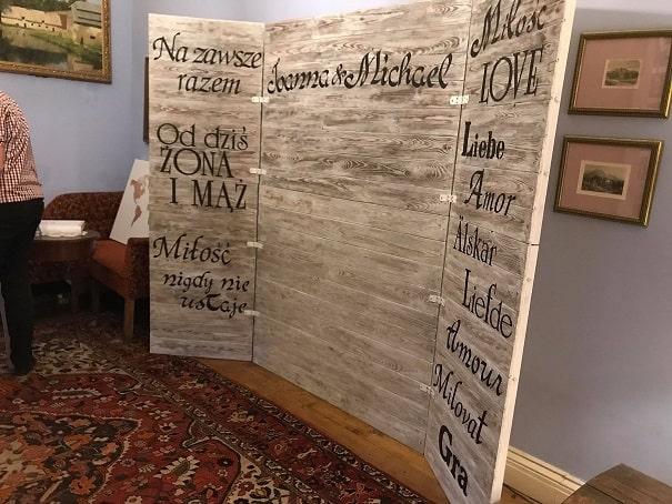 Retro foto-ścianka, wykonana z drewna